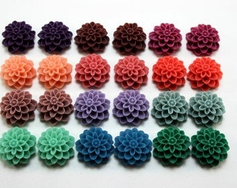 24 pcs Resin Flower Cabochons - 15mm Dahlia - Autumn Equinox Assorted Mix - Matte