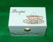 Decorative Recipe Box Wood Recipe Card Box Recipe Holder Hand Painted Victorian Coffee Cup
