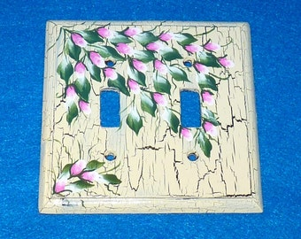 Hand Painted Distressed Light Switch Cover Wood Double Light Switch Plate Cover Custom Wooden Shabby Chic Light Switch Wall Plate Outlet