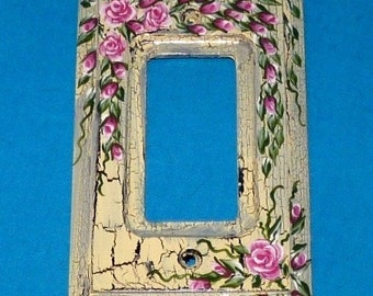 Hand Painted Distressed Rocker Light Switch Cover, Roses, Decorative Single Wood Rocker Switch Wall Plate