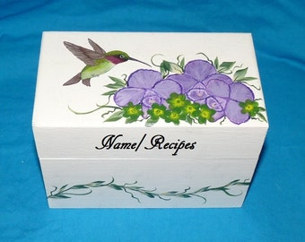 Wedding Recipe Box, Hummingbird Wood Recipe Card Box Hand Painted Personalized Wooden Bridesmaid Gift