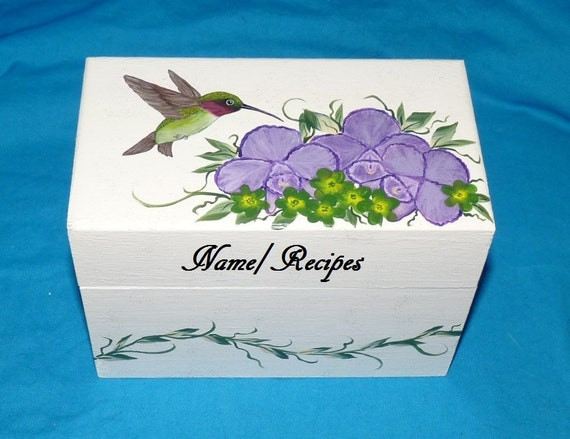 Wedding Recipe Box, Hummingbird Wood Recipe Card Box Hand Painted Personalized Wooden Bridesmaid Gift