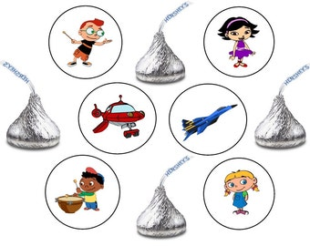 108 Assorted Hershey KISS Stickers Labels Little Einstein's Birthday Party Favors Candy Einsteins