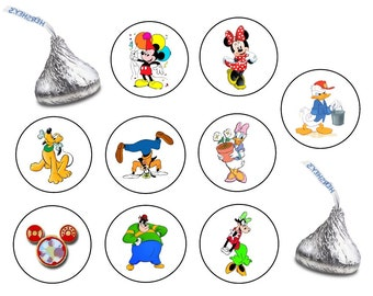 162 Assorted Hershey KISS Stickers Labels Mickey Mouse Clubhouse Birthday Party Favors Candy Minnie