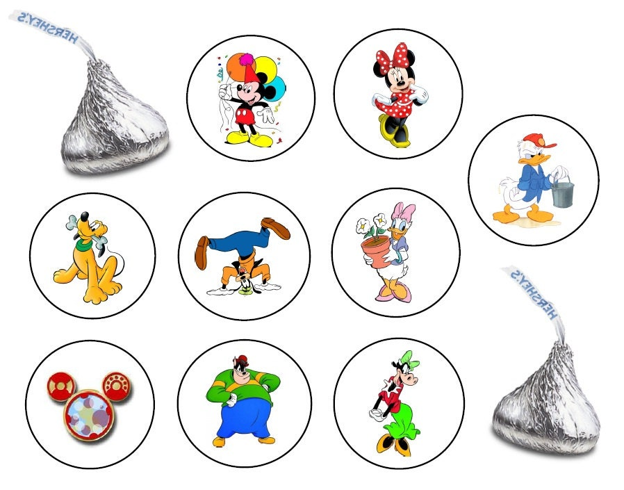 162 assorted hershey kiss stickers labels mickey mouse by sgrauer