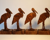 Reserved - 4 Wooden Storks for Francesco