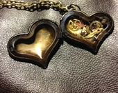 Steampunk Locket Necklace - Bronze heart locket filled with antique watch parts and gears