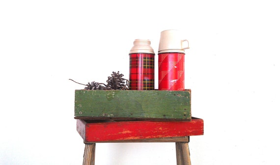 Reserved for Mary Beth - Wood Boxes Holiday Display Red and Green