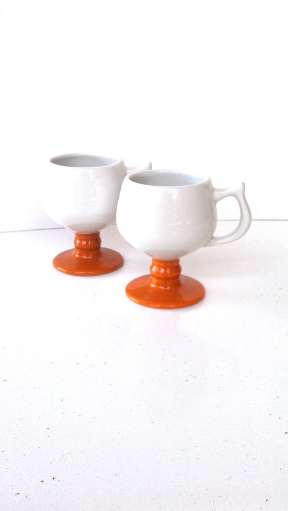 Coffee Cups Pedestal Cups Pumpkin Terra Cotta