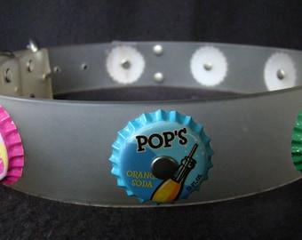 Bottle Cap Dog Collar - LARGE, OOAK - vintage belt - Bottlecap  Fun - Pop Art - Fizzy Pink, Green, and Blue