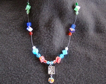 MIllefiori Cubes Floating Necklace - 18 inches - Lime, cobalt, cornflower, and watermelon hues
