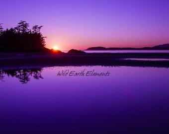Pacific Rim Sunset - Nature Photography, Landscape Photo, vancouver island canada, blue purple