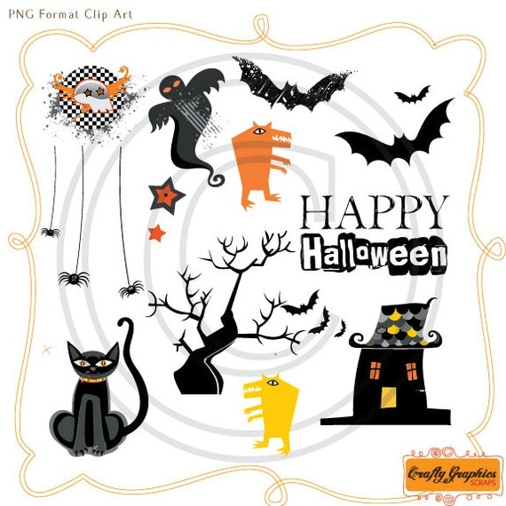 Items similar to Scary Halloween Clip Art and Matching ...