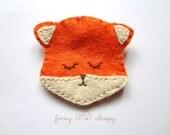 Sweet Sleepy Orange Fox Pin or Brooch