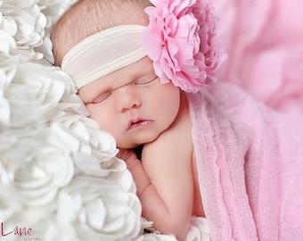 baby headband..bow headband..pink flower headband..newborn headband..girl headband, toddler headband..photography prop,birthday prop