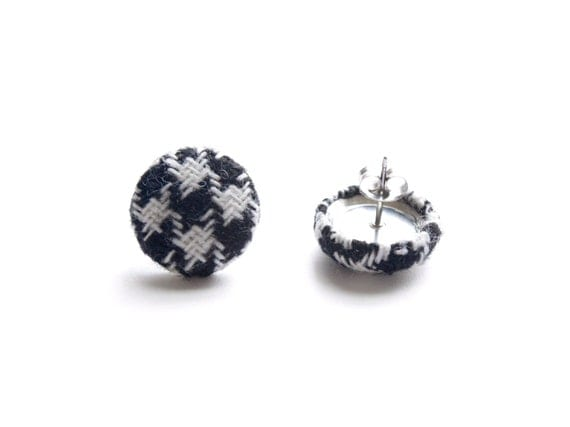 Black and White Houndstooth Fabric Covered Button Earrings