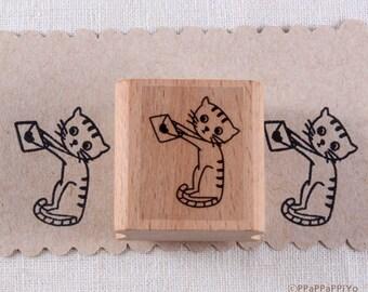 40% OFF SALE Cat & Love letter Rubber Stamp