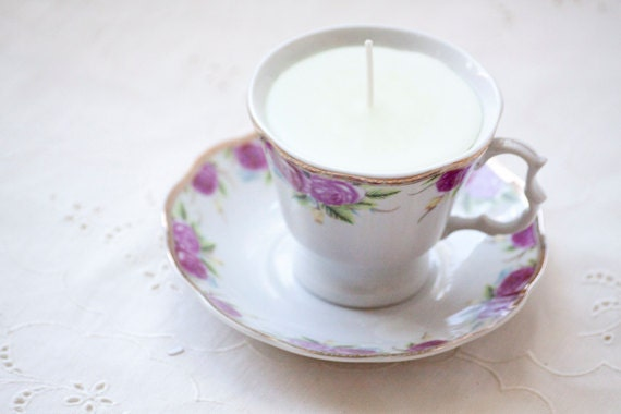 Up-Cycled Cup Candle with Matching Saucer, pear scented
