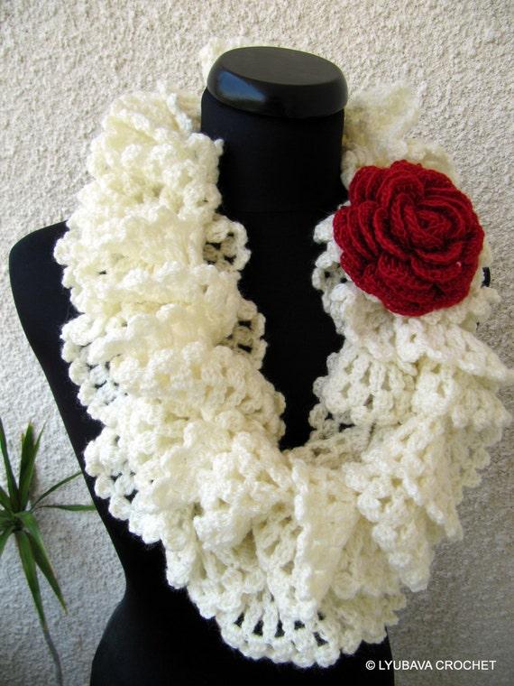 Crochet Pattern Lace Ruffle Scarf : Crochet Scarf PATTERN, Ruffle Scarf Pattern, Crochet ...