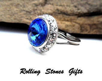 Sapphire 15mm Swarovski Rivoli Surrounds Rhinestone Adjustable Ring-Sapphire Birthstone Adjustable Ring-Sapphire Stone Adjustable Ring