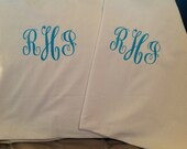 Two  Monogrammed Pillowcases Several Colors to Choose From