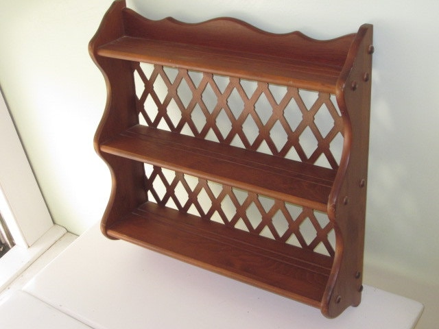 Vintage Wood 3 Tier Hanging Wall Shelf With Lattice Back And