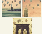 New York City Hot Air Balloons - SAVE OVER 50 PERCENT - 5x5 prints - set of 3 photographs - Brooklyn Bridge, Empire State Building