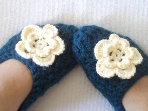 Adult Wool Crochet Slippers, Thick, Simply slippers, Women slippers,  house shoes. Oil Blue