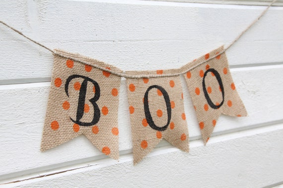 Primitive halloween BOO Burlap Banner, Halloween Banner, Holiday Decoration, Mantel Decoration, Halloween garland, Halloween Photo Prop