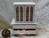 FREE SHIPPING: Extra Large Jewelry & Music Box - Shabby Chic Green and Ivory