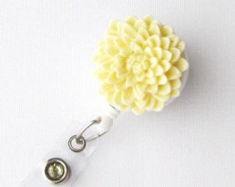 Butter Cream Flower - ID Badge Holder - Flower Badge Reels - Designer ID Reel - Nurse Gifts - Pretty Name Badge Clips - BadgeBlooms