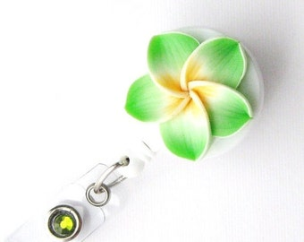 Lime Plumeria - Retractable Badge Reel - Flower Badge Holders - Designer ID Reel - Nurse Gifts - Pretty Name Badge Clips - Badge Blooms