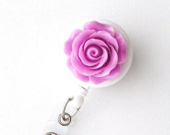 Lilac Rosebud - ID Badge Holder - Flower Badge Reels - Designer ID Reel - Nurse Gifts - Pretty Name Badge Clips - BadgeBlooms