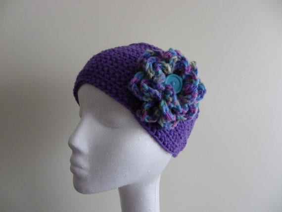 Crochet Ear-Warmer Accented with a Flower -- Ready to ship