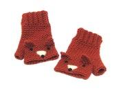 fox fingerless gloves. orange fox. animal gloves.