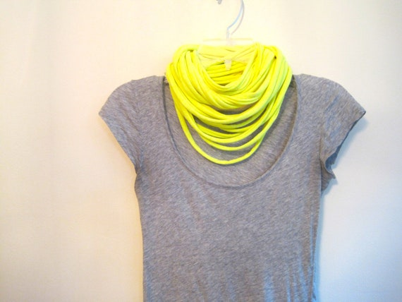 upcycled t-shirt scarf. jersey spaghetti scarf. neon yellow.