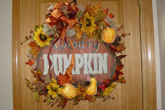 Thanksgiving Wreath, Pumpkin Wreath, Harvest Wreath, Fall Wreath