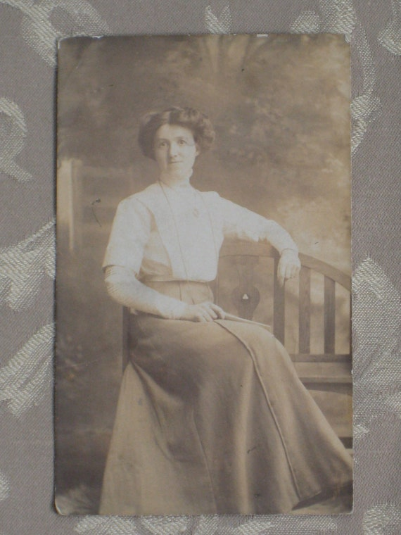 Lady In Repose - Antique Photo Postcard RPPC - Turn Of The Century/Late Victorian