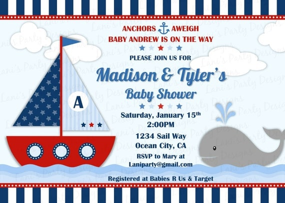 Ahoy Itu0026#39;s a Boy Nautical Sailboat Baby Shower Invitation Invites - Sailor Navy Red Stripes Whale ...