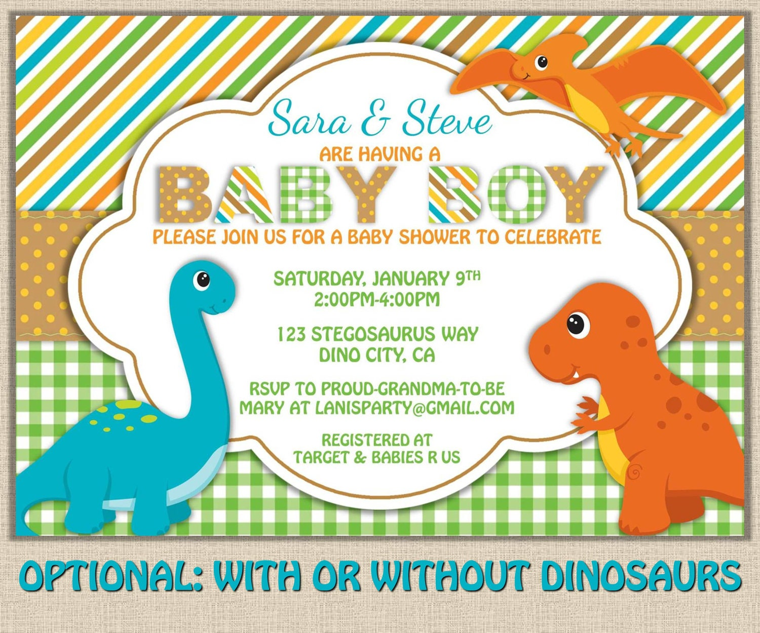 dinosaur baby shower invitation dino boy by maryspartydesigns