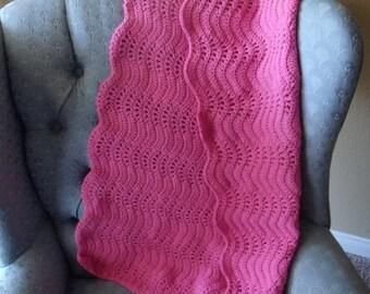 Super Soft pink ripple crochet afghan/blanket