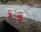 A Pair of Vintage, Coca Cola Charmed, Stemmed Glass Goblets