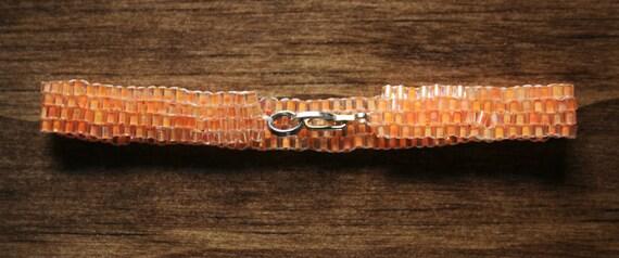 Rough Bright Creamsicle Orange Peyote Bracelet