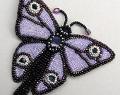 Bead Embroidered Butterfly Brooch with Sapphires and Blue Goldstone