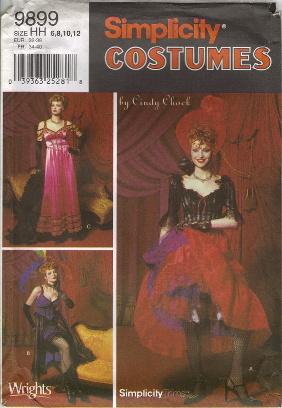 Simplicity Costume Sewing Pattern 9899 (aka 0662)- Misses' Old West Tavern Girl's Costumes (6-12)