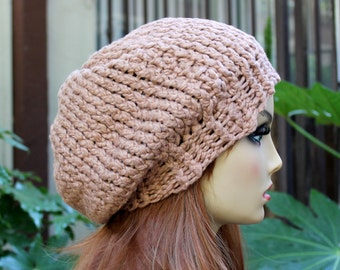 Hand Knit, Tan, Light Brown, 100 Percent Organic Cotton, Slouchy, Beanie Hat for Women or Men Spring Summer Fall Winter
