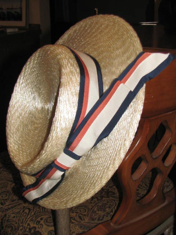 Mr. JOHN Jr. //  Vintage 1960's Red White and Blue POLITICAL Hat Ribbon Country Fair Straw JFK