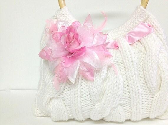 knitted white bag purse handbag hand knitted purse hand knitted bag knitted bag white summer bag purse
