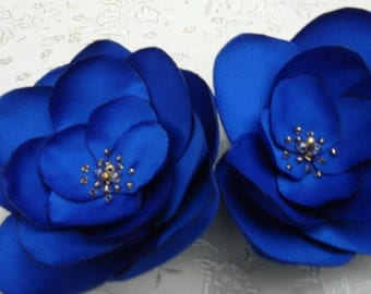 Blue Flower Clips Fascinator, Royal Blue Satin Fabric Flower Hair Clip, Hair Fascinator Royal Flowers