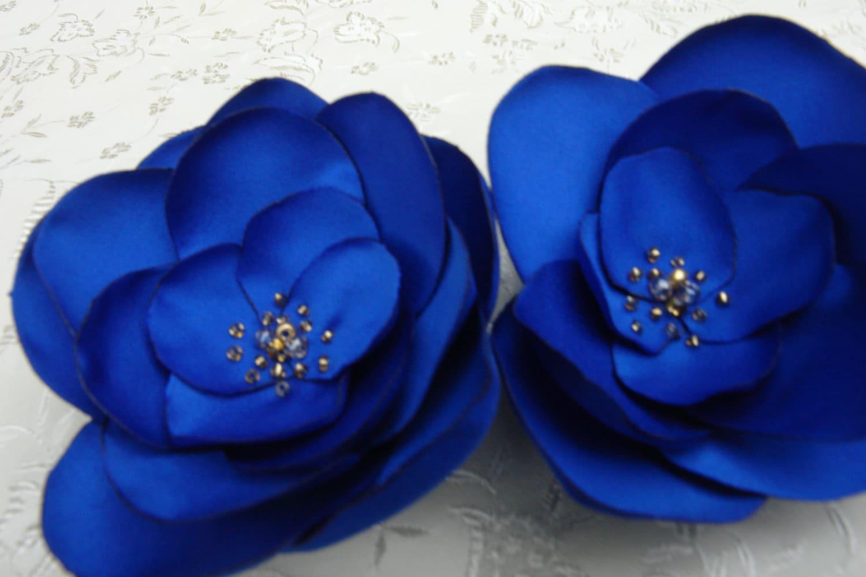 blue flower clips fascinator royal blue satin fabric flower